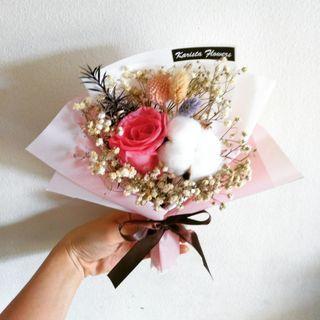 Eternal preserved rose cotton baby breath flower bouquet