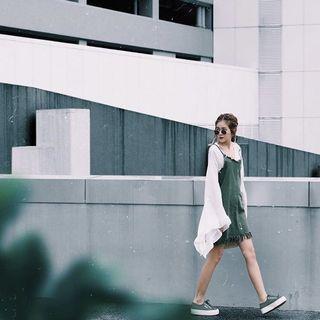Olive Green Shredded Dress