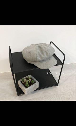 🚚 灰色復古毛料小臉報童帽