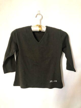 Olive green 3/4 sleeve pullover