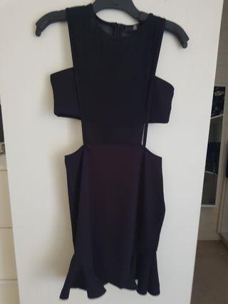 Missguided black mid drift and frill dress