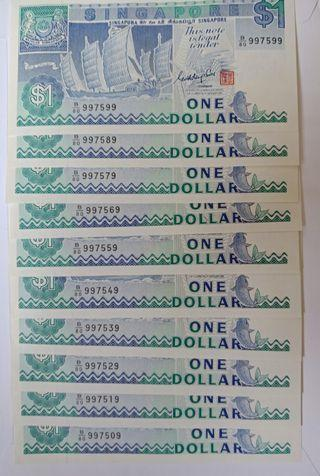 9H9T, boat series $1 notes, lot of 10 pcs.