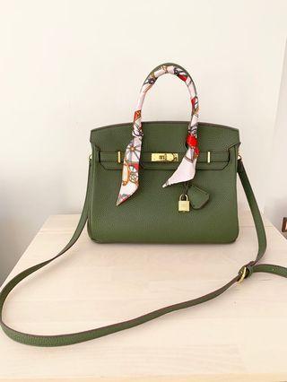 Olive green handbag / satchel bag (size 30)