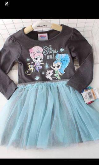 Instock shimmer and shine dress brand new size for 4-8yrs old