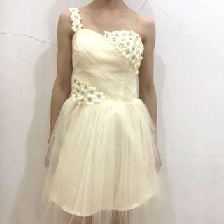3D Embellished Floral One Shoulder Bridesmaid Short Dinner Dress in Yellow
