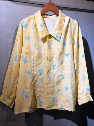 GV 古著 黃四邊形 復古襯衫