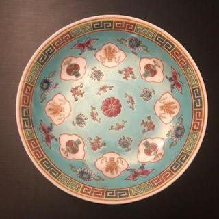 Famille rose plate - Porcelain - stylized Sun flower decor - China - Cultural revolution period 60s/70s 六七十年代太阳花文革盘。