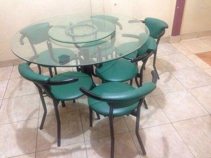 Meja Makan Kaca satu set dengan 6 Kursi