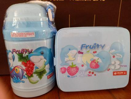 🚚 Brand New Children/Kids Blue Dolphin Water Bottle and Lunchbox Set with Free Mail
