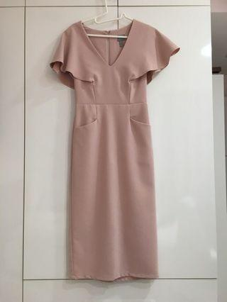 ASOS Design Blush Pink Pencil Dress