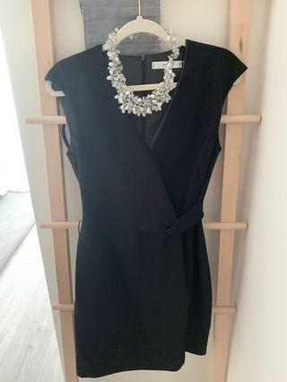 MANGO Black Side Tie Dress