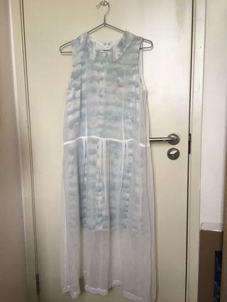 白色×綠色長身裙