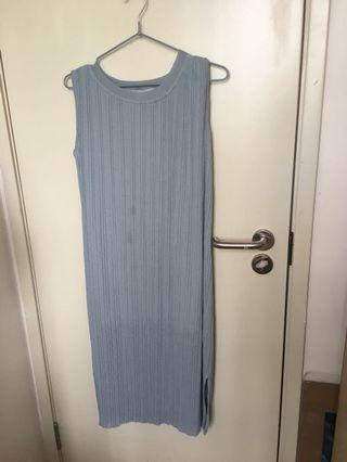 韓國購 小開衩灰色長裙
