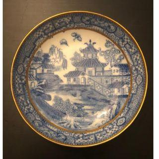 Qing Dynasty Antique  - Porcelain saucer - China - Qianlong period 乾隆外销青花描金山水盘
