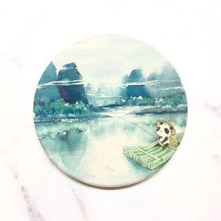 硅藻土杯墊 #熊貓 #圓形杯墊