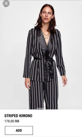 Zara Striped Kimono Satin