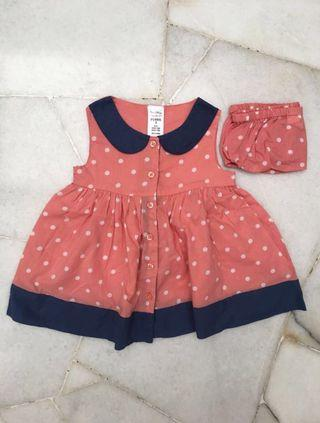 BN 6-12M Baby Girl Polka Dot Dress