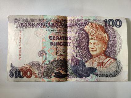 🚚 $100 Seratus Ringgit Old Rare Malaysia Note