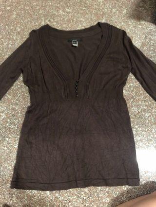 🚚 MNG brown knit long sleeve top
