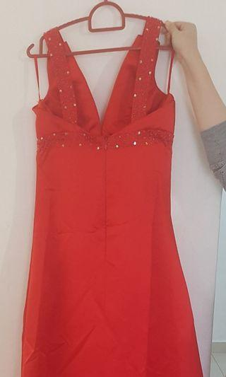 Red dinner gown