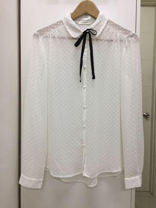 Promod White with Black Bow Long Sleeve Top