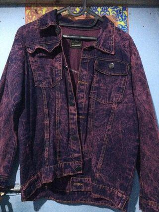 Maroon Washed Denim Jacket
