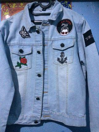 Blue Denim Jacket and Patches