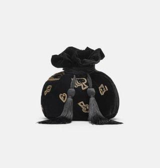 《全新》♠️♥️ Zara 絨布撲克牌印花水桶包♦️♣️