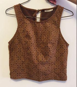 Bershka brown patterned sleeveless top