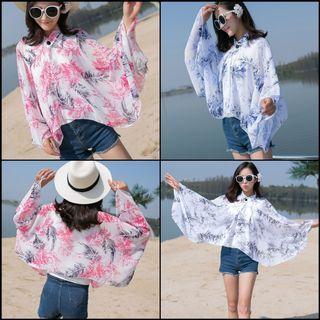 Batwing shawl leaves pattern beachwear chiffon outerwear