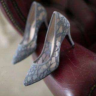 蕾絲尖頭高跟鞋 新娘鞋 伴娘鞋 姊姊鞋
