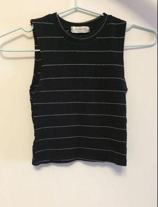 Aland Black striped sleeveless top黑色間條背心