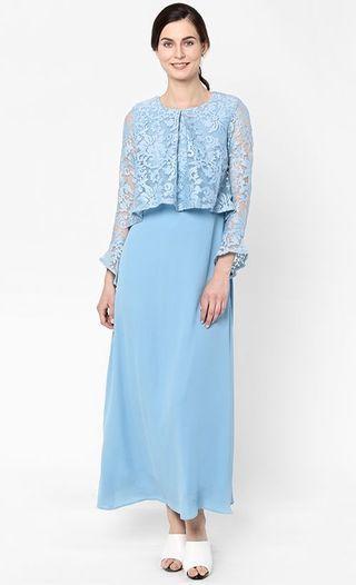 Fashionvalet Aliya Lacey Dress in Dusty Blue
