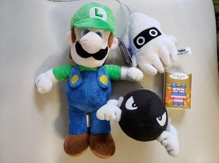 Mario Luigi中公仔 送魷魚、炮彈細公仔