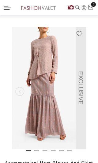 Poplook premium fashion valet assymetrical hem baju kurung