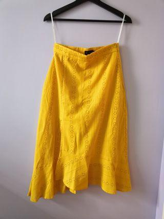 Yellow Assymetrical Skirt