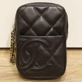 CHANEL 黑色雙C壓紋LOGO 零錢包 收納包