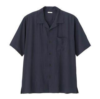 GU深藍開襟短袖襯衫