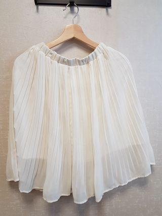九成新 雪紡 百摺 白 半身裙 氣質 日系 內襯