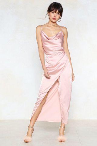 PRICE REDUCED: BRAND NEW LIGHT PINK SATIN MAXI DRESS