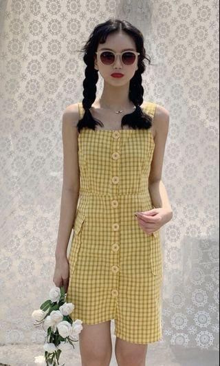#maudandan dress yellow plaid kuning korea