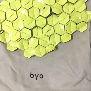Byo Machina Clutch Small in Acid Yellow