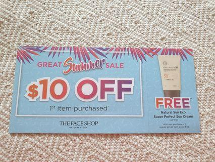 The Face Shop $10 OFF Voucher Including One FREE Natural Sun Eco Super Perfect Sun Cream
