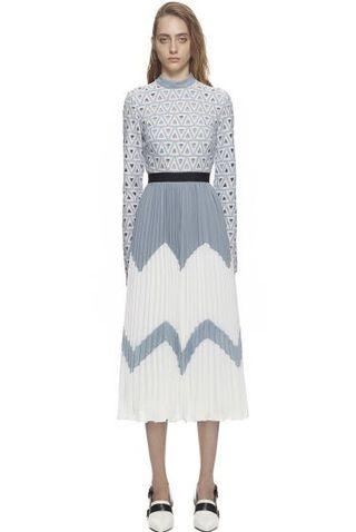 Long-Sleeved Macramé Lace And Pleated Crepe Dress Self-Portrait Style