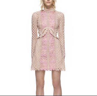 Long-sleeved Pink Lace Patchwork Waist Cutout Mini Dress Self-Portrait style