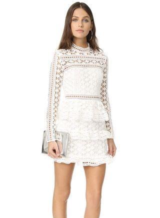White Star Lace-Paneled Mini Dress Self-Portrait style