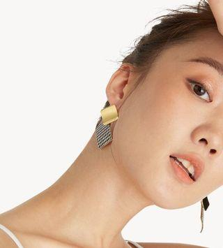 Pomelo Double Square Plate Gold and Checkered Earrings