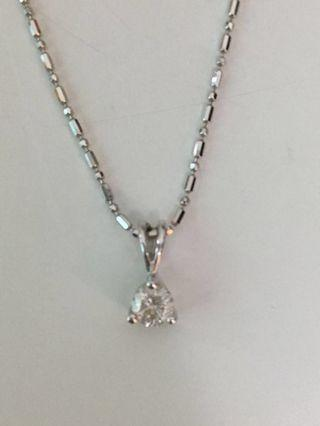 Necklace 18K White Gold with Real Diamond 18K 白金26份鑽石項鍊 9成新