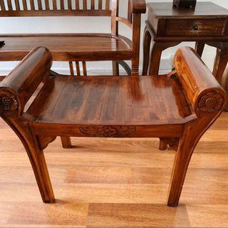 Vintage Wooden Coffee Table & Chair