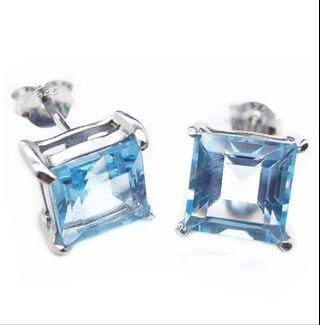 NATURAL EARRINGS 8MM SKY BLUE TOPAZ PLATED WHITE GOLD 925 STERLING PERAK ASLI IMPORT ANTING PARTY / SUBANG